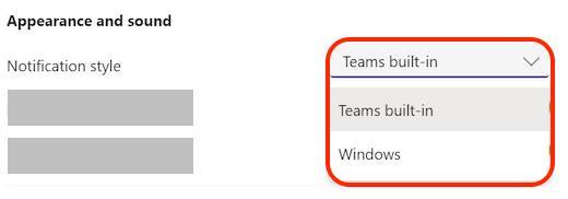 Microsoft Teams - Choix possibles pour les notifications