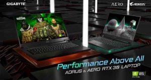 Ordinateurs portables AORUS et Aero équipés d'une GeForce RTX 30 series mobile de Gigabyte
