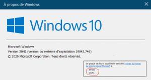 Windows 10 - A propos de Windows