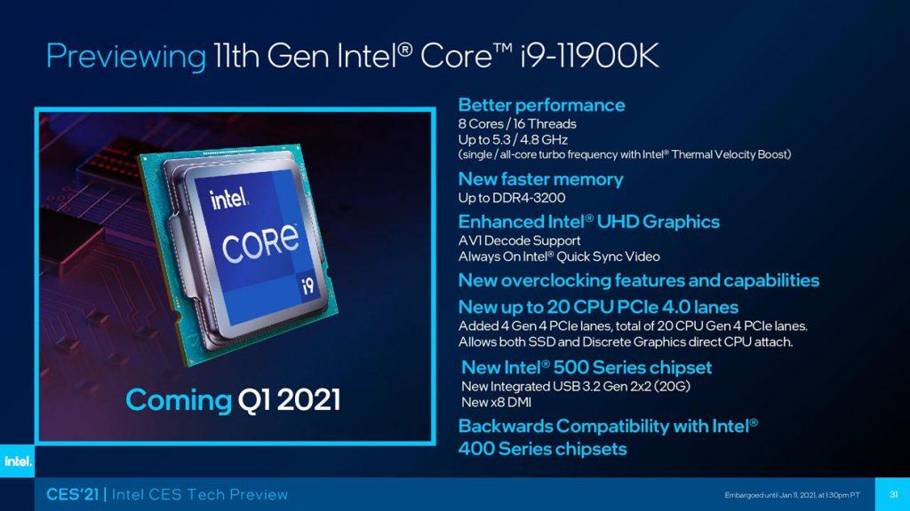 Processeur Core i9-11900K d'Intel