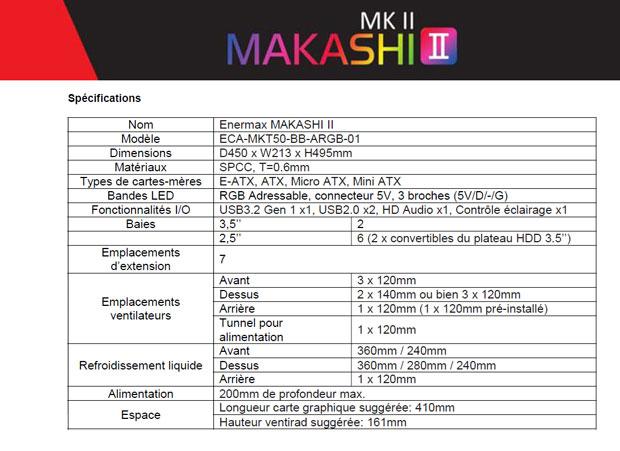 Boitier Gaming MAKASHI II - Les spécifications