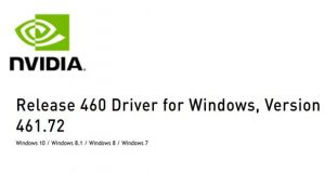 Pilotes graphiques Nvidia GeForce 461.72 WHQL