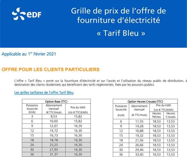 Tarifs EDF au 1 février 2021