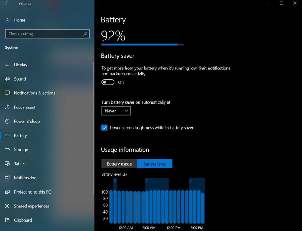 Windows 10 et le nouvelle onglet Batterie