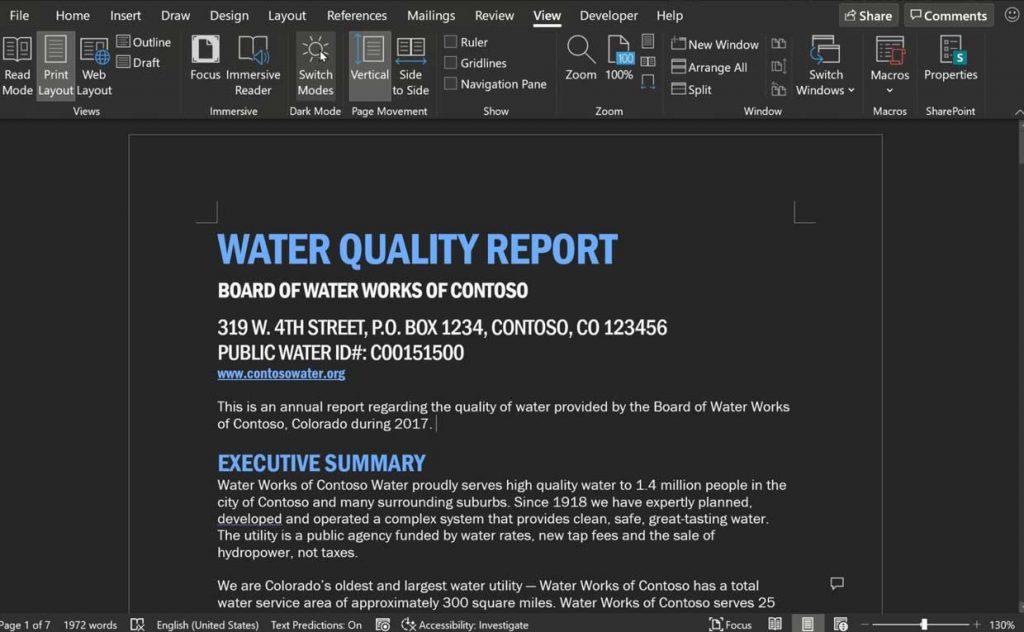 Microsoft Word et le mode « Full Dark »