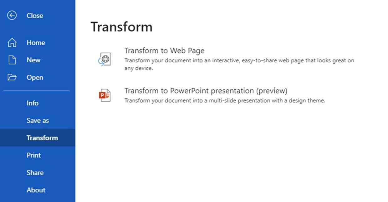 Word pour le Web et la conversion en une présentation PowerPoint