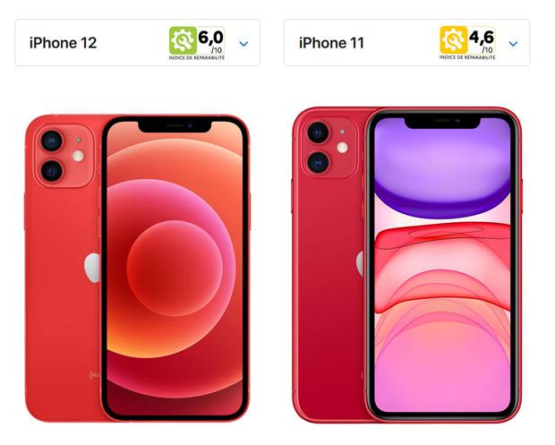 iPhone 12 et 11, Apple publie leurs Indice de réparabilité