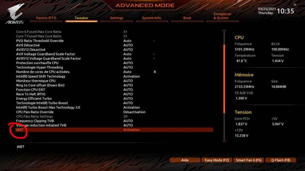 Carte mère Z590 Aorus Xtreme - Activation de la technologie Adaptive Boost