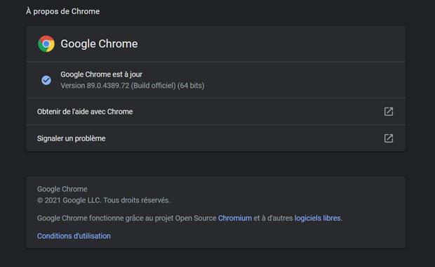 Navigateur Chrome et la fonction de mise à jour automatique