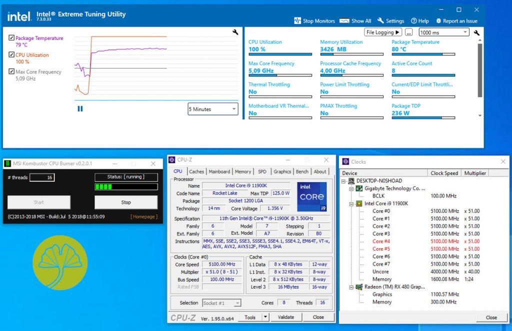 Core i9-11900K - Technologie Adaptive Boost activée