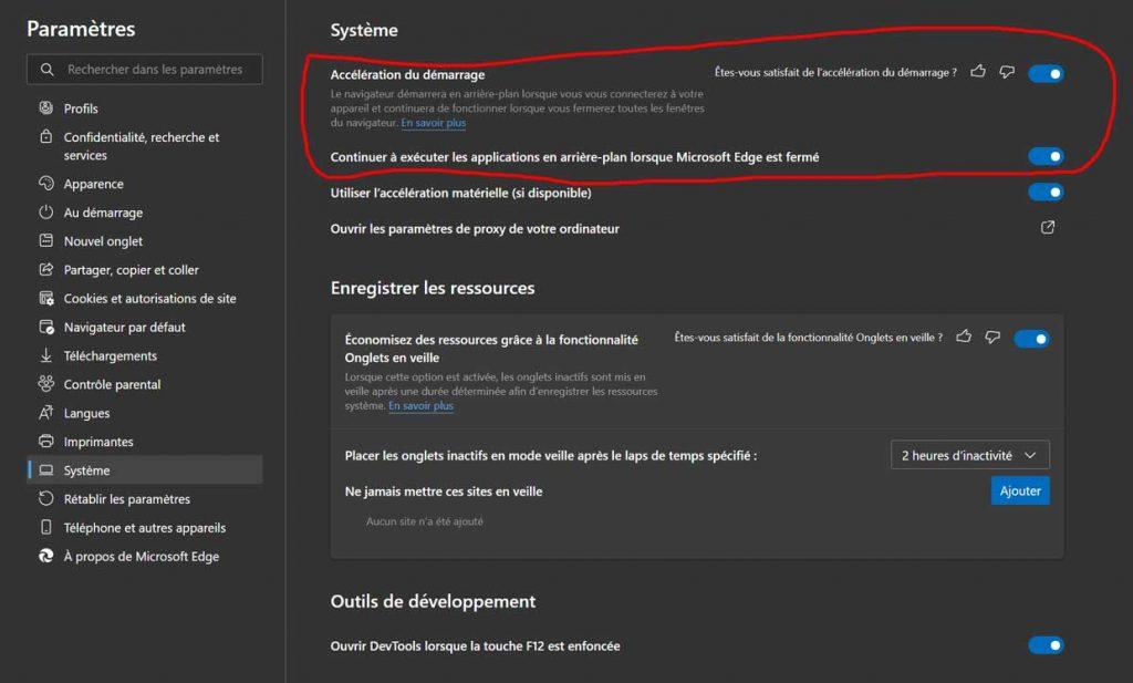Microsoft Edge et la fonction Accélération du démarrage