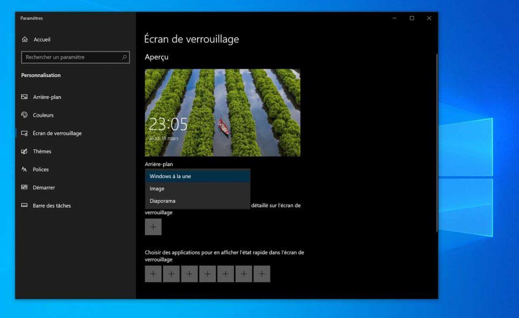 Windows 10 et l'écran de verrouillage - Configuration de l'arrière-plan avec Windows à la une