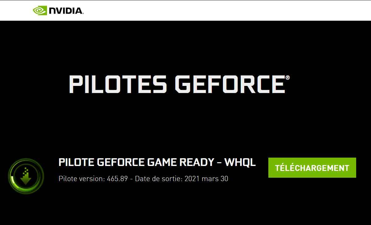 Pilotes graphiques Nvidia GeForce 465.89 WHQL