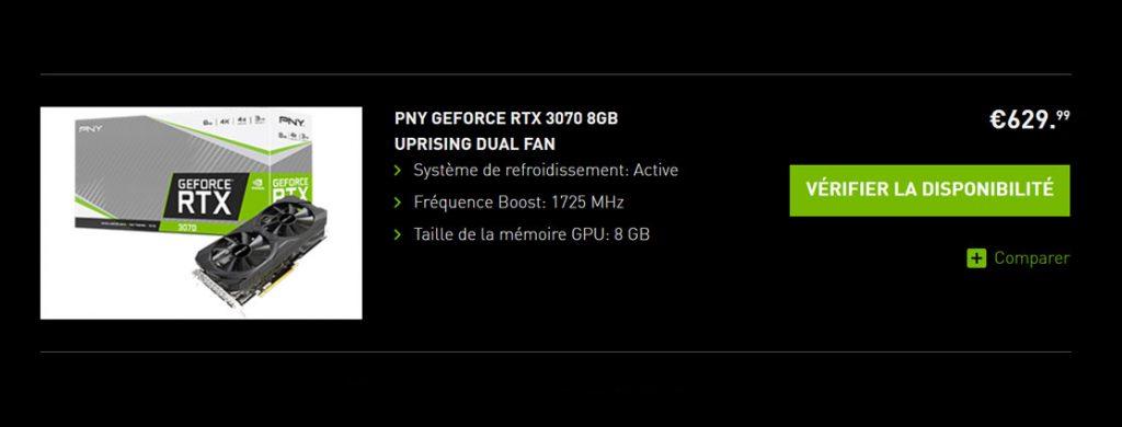 GeForce RTX 3070 8GB UPRISING Dual Fan de PNY - Prix sur le site de Nvidia