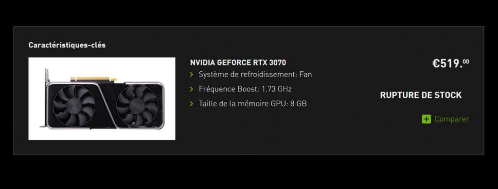 La GeForce RTX 3070 8 Go Founders Edition
