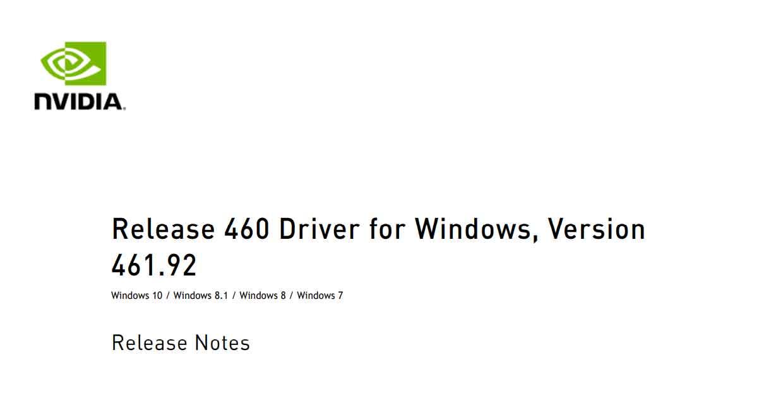 Pilotes graphiques Nvidia GeForce 461.92 WHQL
