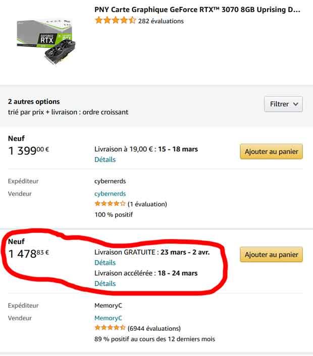 GeForce RTX 3070 8GB UPRISING Dual Fan de PNY - tarif record