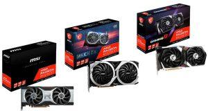 Les Radeon RX 6700 XT GAMING X 12G, Radeon RX 6700 XT MECH 2X 12G OC et Radeon RX 6700 XT 12G de MSI
