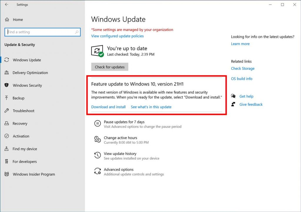 Windows 10, 21H1 fait son apparition dans Windows Update