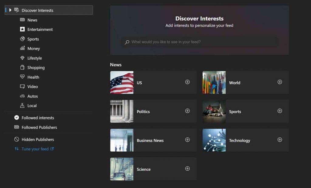 Encuentre un servicio integrado para personalizar las fuentes de noticias de ping