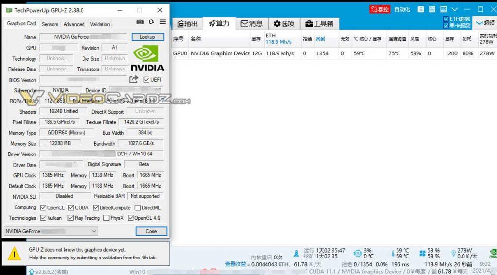 "GeForce RTX 3080 Ti - Performances ""minières"""