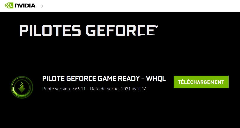 Pilotes graphiques GeForce 466.11 WHQL de Nvidia