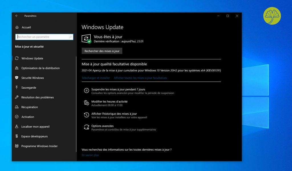 Windows 10 et l'installation de la mise à jour cumulative KB5001391