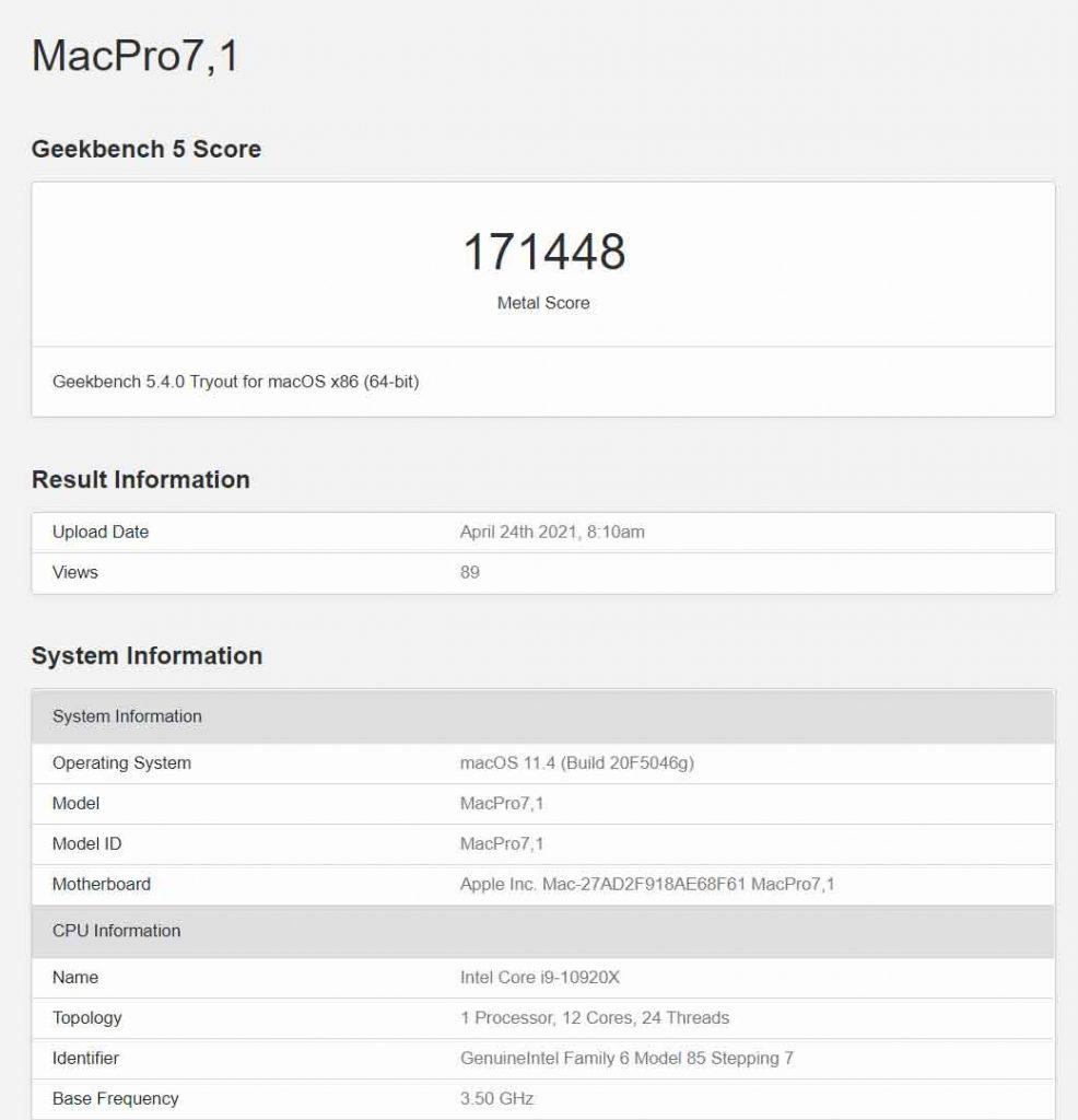 Mac Pro équipé d'une Radeon Pro X6900X - Performance sous GeekBench 5