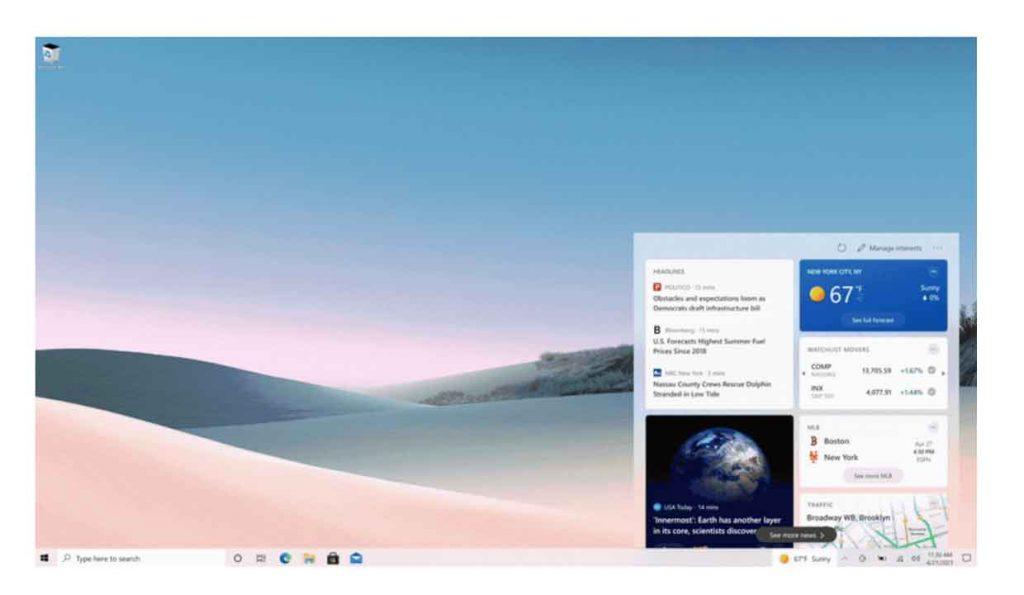 Widget de noticias y tiempo en Windows 10 y barra de tareas
