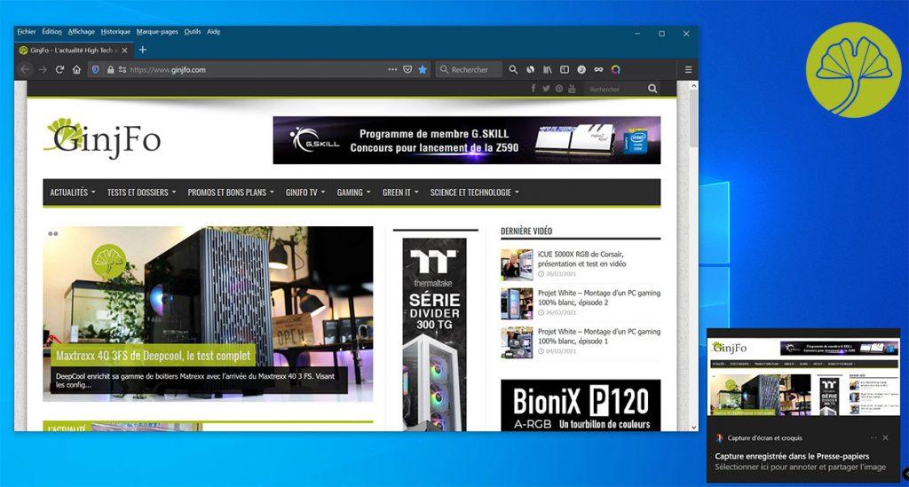 Windows 10 et la capture d'écran