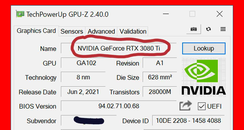 Utilitaire GPU-Z v2.40.0 - la GeForce RTX 3080 Ti