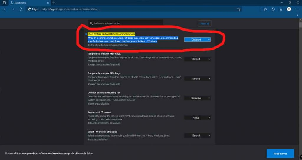 """Microsoft Edge 91 et l'option """"Show feature and workflow recommendations"""""""