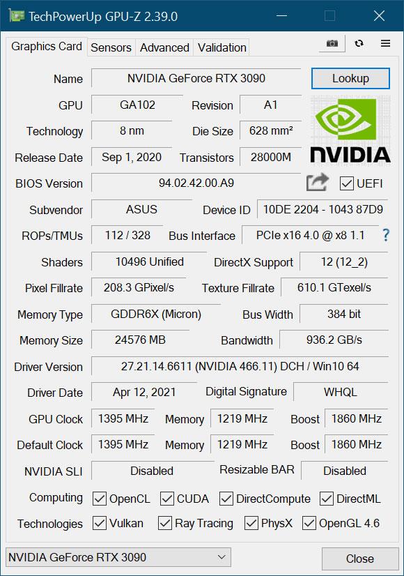 Utilitaire GPU-Z v2.39.0