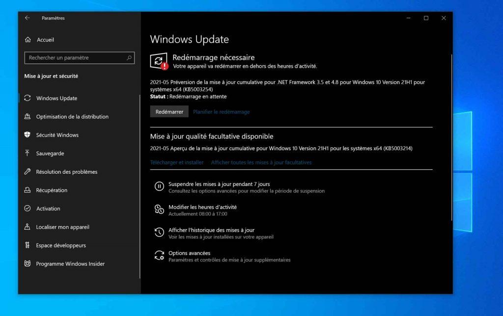 Mise à jour Windows 10 optionnelle KB5003214