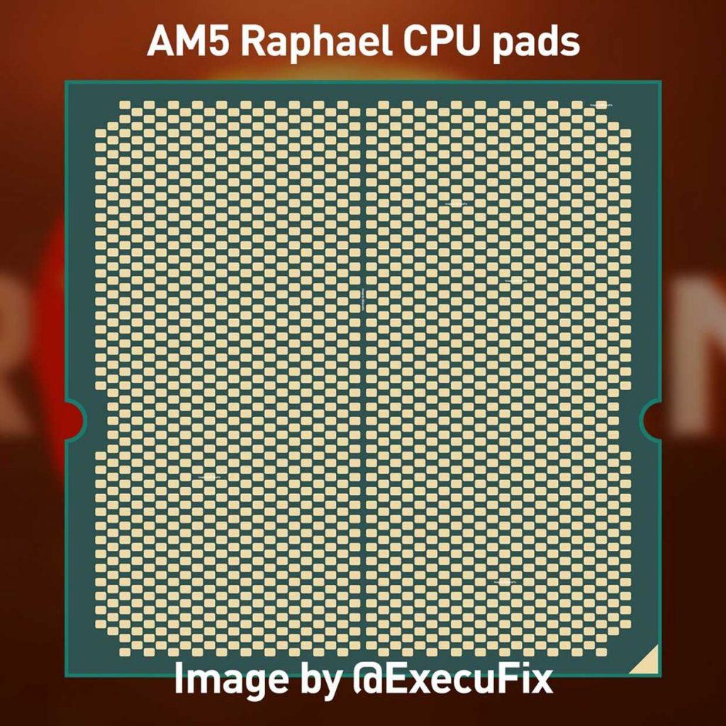 Panel trasero del procesador AMD Raphael (sistema operativo AM5) en formato LGA 1718