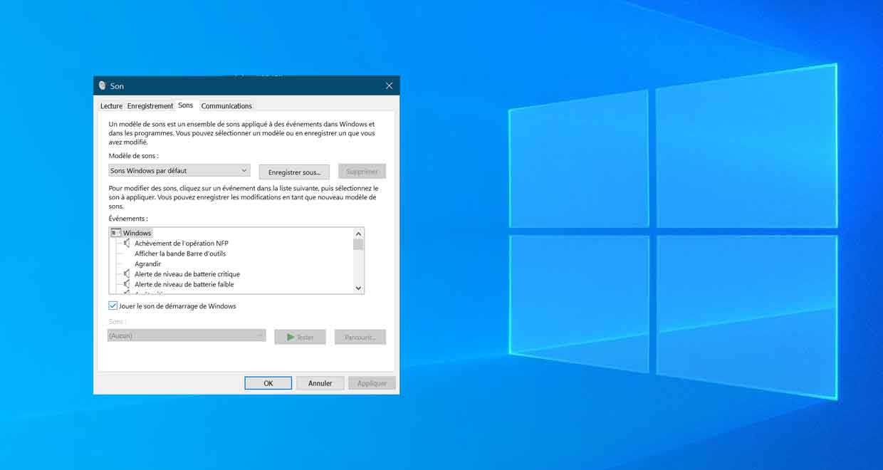 "Windows 10 et l'option ""jouer le son de démarrage de Windows"""