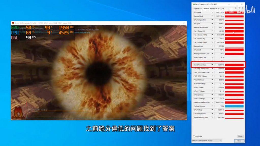 GeForce RTX 3070 Ti Gaming OC - Consommation et température GPU