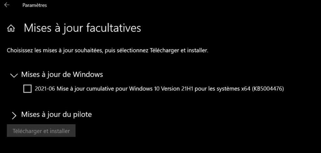 Windows 10 et la mise à jour KB5004476