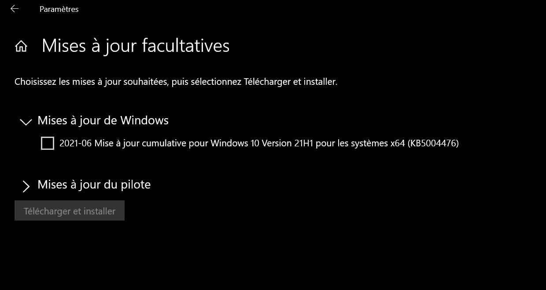 La mise à jour Windows 10 KB5004476