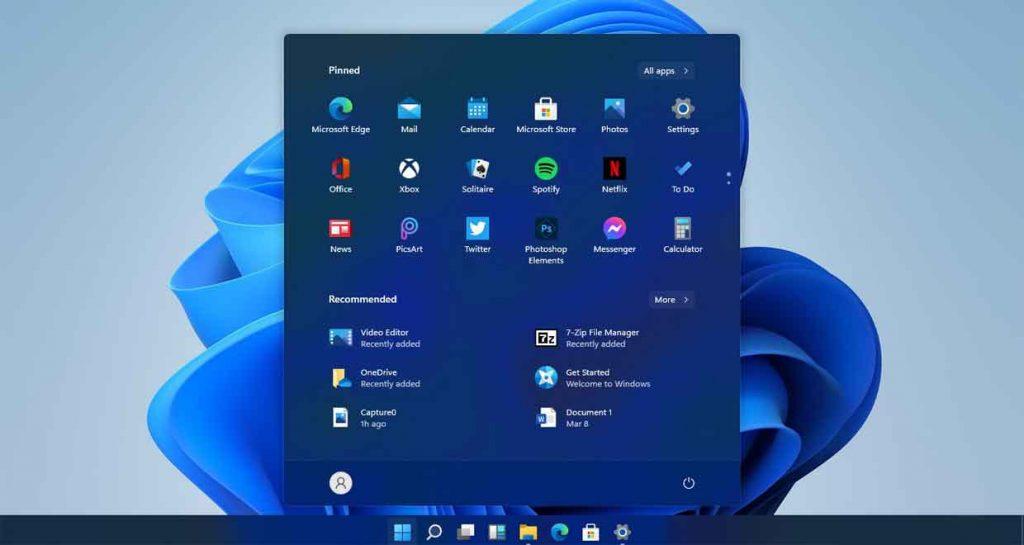 Le nouveau menu démarrer proposé par Windows 11