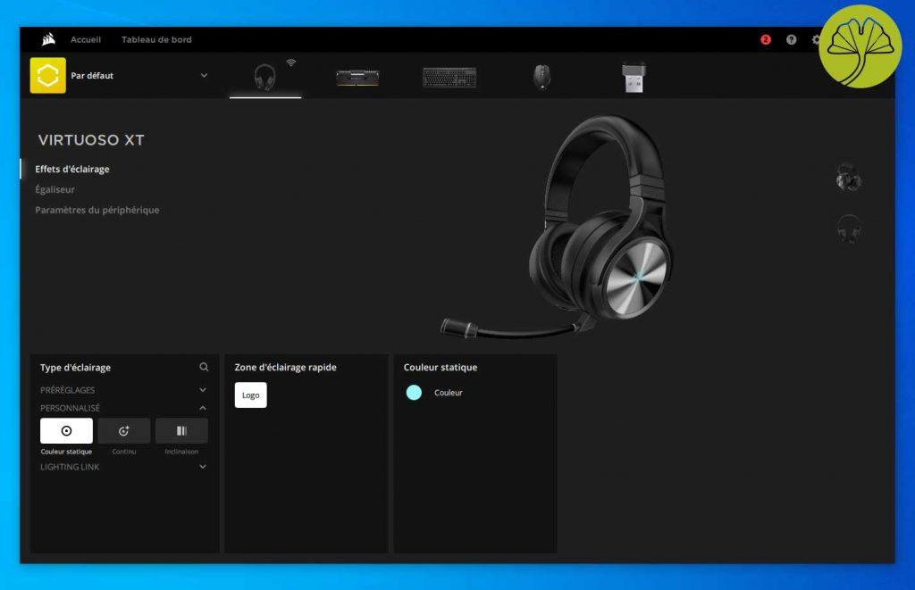 Virtuoso RGB Wireless XT et l'application iCUE