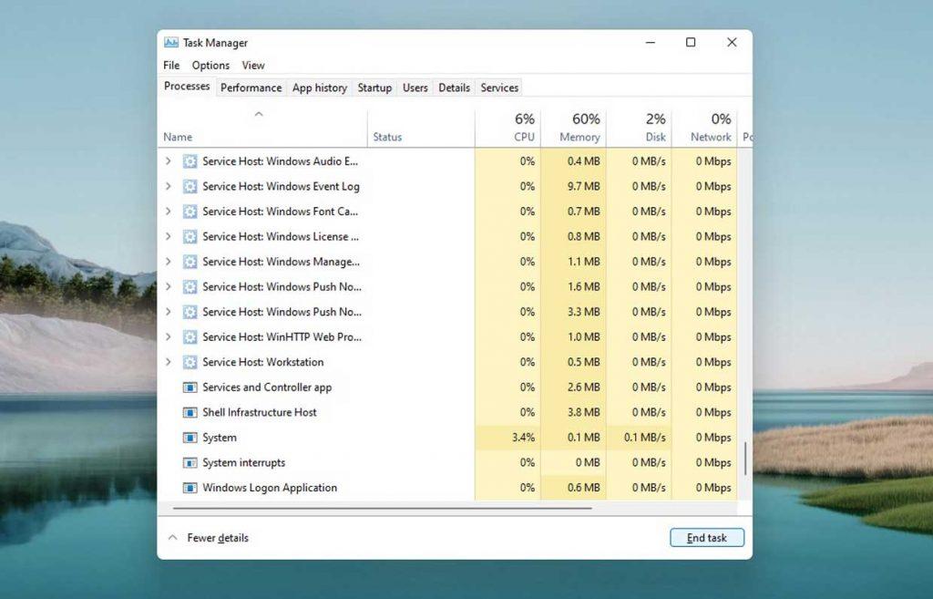Windows 11 et gestionnaire des tâches