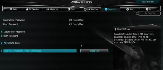 Windows 11, activation de la fonction PTT dans le BIOS UEFI (carte mère ASRock Intel)