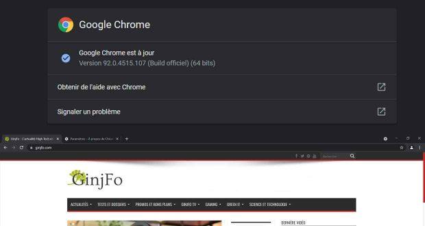 Navigateur Chrome 92 de Google