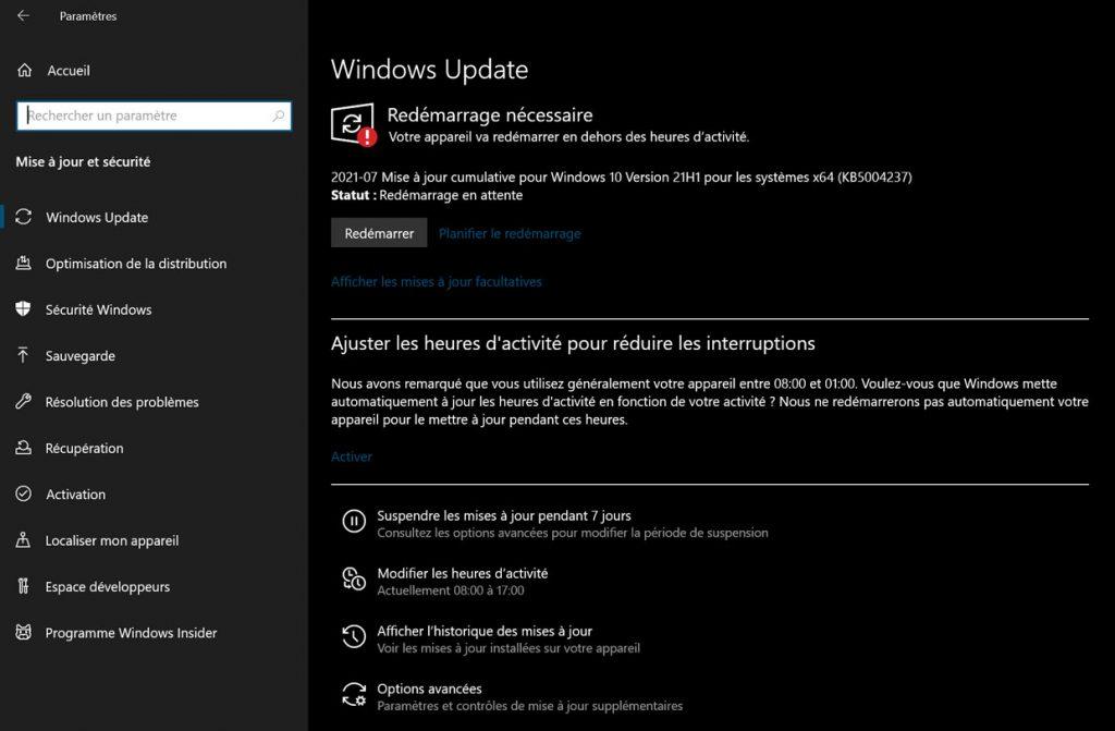 Windows 10, la mise à jour cumulative KB5004237 débarque dans Windows Update