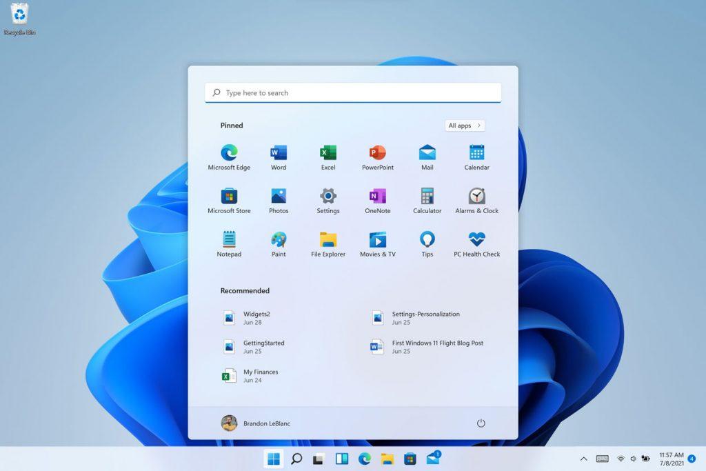 Windows 11, le menu démarrer accueille une zone de recherche