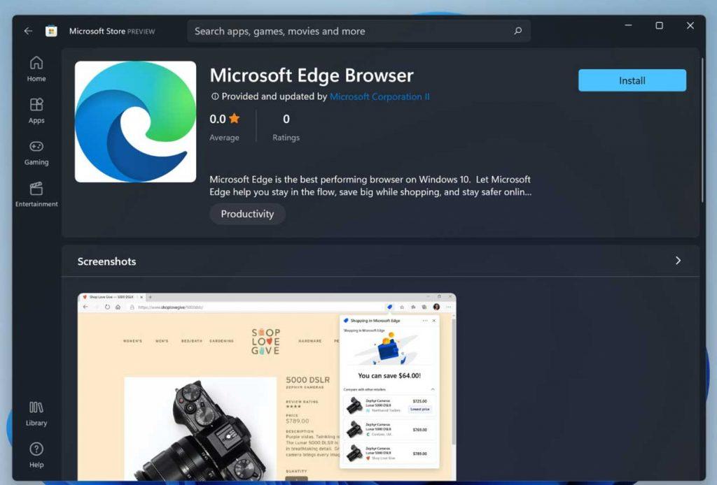 Windows 11, Microsoft Edge Available on Microsoft Store