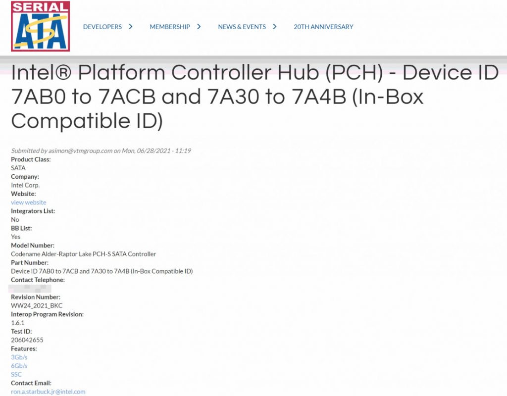 Intel Platform Controller HUB (PCH), Alder – Raptor Lake (sata-io.org 1/2)