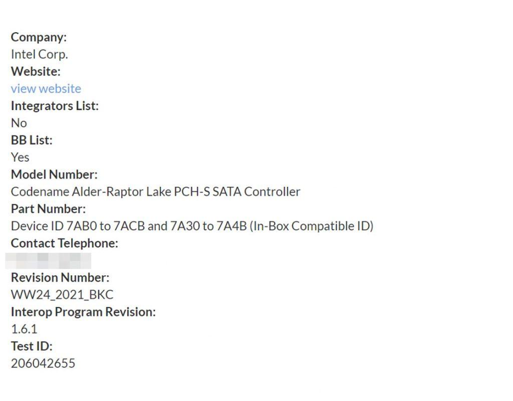 Intel Platform Controller HUB (PCH), Alder – Raptor Lake (sata-io.org 2/2)