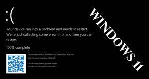 Le BSOD de la première Preview de Windows 11